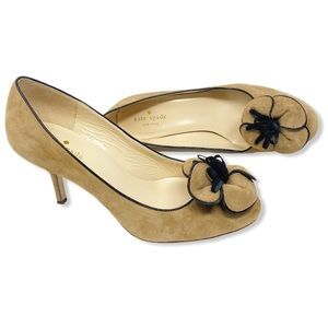 Kate Spade Heels Bow Suede Tan Black Kitten 8.5